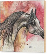 Grey Arabian Horse On Red Background 2013 11 17  Wood Print