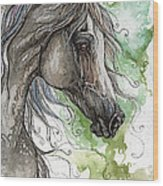 Grey Arabian Horse Watercolor Painting 1 Wood Print