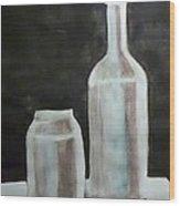 Grey Bottles Wood Print