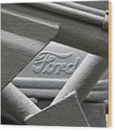 Grey Ford Tractor Logo Wood Print