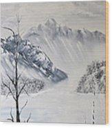 Grey Mountains Wood Print