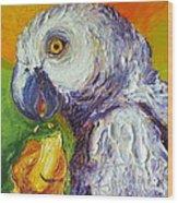 Grey Parrot And Juicy Mango Wood Print