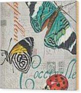 Grey Postcard Butterflies 2 Wood Print