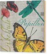 Grey Postcard Butterflies 3 Wood Print