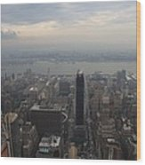 Grey Sky Over Manhattan Wood Print