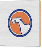 Greyhound Dog Head Side Retro Circle Wood Print