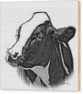 Greyscale Cow Holstein - 0034 Fs Wood Print
