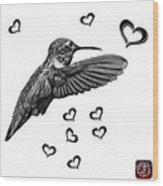 Greyscale Hummingbird - 2055 F S M Wood Print