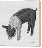 Greyscale Piglet - 0878 Fs Wood Print