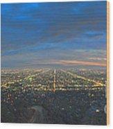 Griffith Observatory L.a. Skyline Dusk Lit Beautiful Wood Print