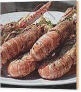 Grilled Prawns Croatia Wood Print