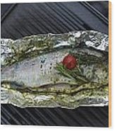Grilled Trout On Barbecue Wood Print