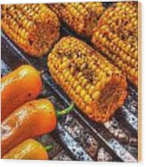 Grilling Corn And Peppers Wood Print