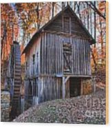 Grist Mill Under Fall Foliage Wood Print