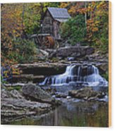 Grist Mill Falls Wood Print by Lone Dakota Photography