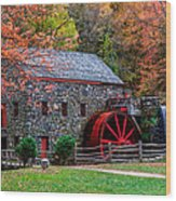 Grist Mill In Autumn Wood Print