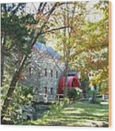 Grist Mill In Fall Wood Print