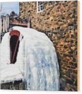 Grist Mill In Winter Wood Print