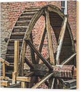 Grist Mill Water Wheel In Hobart Indiana Wood Print by Paul Velgos