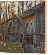 Grist Mill With A Golden Glow Wood Print