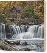 Grist Mill With Vibrant Fall Colors Wood Print