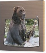 Grizzly Bear 6 Out Of Bounds Wood Print by Thomas Woolworth