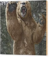 Grizzly Bear Attack On The Trail Wood Print
