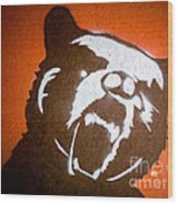 Grizzly Bear Graffiti Wood Print by Edward Fielding