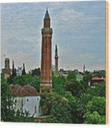Grooved Minaret Fromthirteenth Century In Antalya-turkey Wood Print