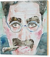Groucho Marx Watercolor Portrait.1 Wood Print