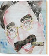 Groucho Marx Watercolor Portrait.2 Wood Print by Fabrizio Cassetta