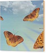 Group Of Butterflies And Sky Wood Print