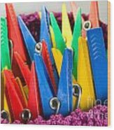 Group Of Colorful Clothespins Wood Print