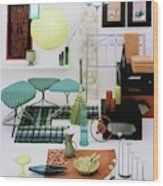Group Of Furniture And Decorations In 1960 Colors Wood Print