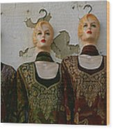 Group Of Mannequins In A Market Stall Wood Print