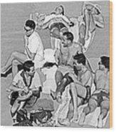 Group Of Men Sunbathing Wood Print