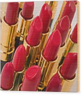 Group Of Red Lipsticks Wood Print