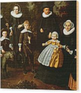 Group Portrait Of Three Generations Of A Family In The Grounds Of A Country House Oil On Canvas Wood Print