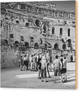 Groups Of Tourists And Guides In The Main Arena Of The Old Roman Colloseum At El Jem Tunisia Wood Print