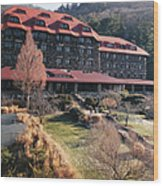 Grove Park Inn In Early Winter Wood Print by Paulette B Wright