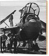 Grumman Ea-6b Prowler B-w Wood Print