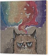 Grumpy Cat And Her Colorful Dreams Wood Print