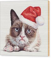 Grumpy Cat As Santa Wood Print by Olga Shvartsur