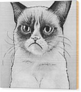 Grumpy Cat Portrait Wood Print