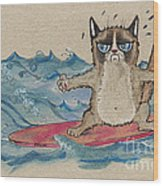 Grumpy Cat Surfing Wood Print
