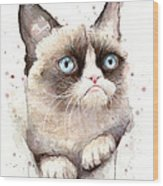 Grumpy Cat Watercolor Wood Print
