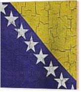 Grunge Bosnia And Hertzegoniva Flag Wood Print