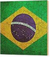 Grunge Brazil Flag Wood Print