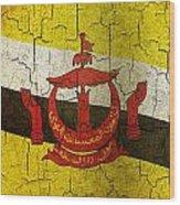 Grunge Brunei Flag Wood Print