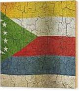 Grunge Comoros Flag Wood Print